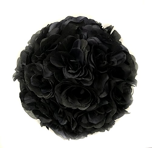 Ben Collection 10 Pack of Fabric Artificial Flowers Silk Rose Pomander Wedding Party Home Decoration Kissing Ball Trendy Color Simulation Flower (Black, 25cm)