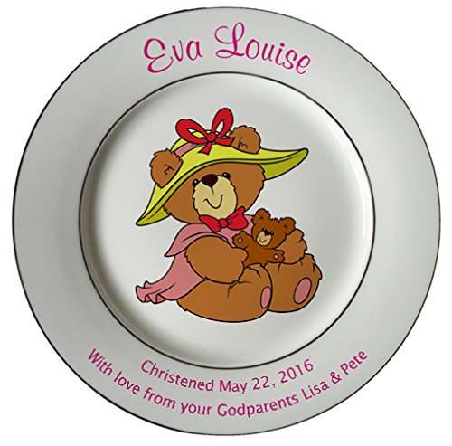 Personalized Birth Plate with 2 Gold Bands - Bear with Hat Design
