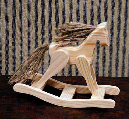 ni Wooden Rocking Horses with Jute Mane for Baby Showers, Crafting and Displaying (Natural Wood Rocking Horse)