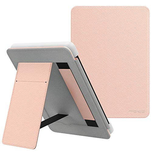 MoKo Case Fits Kindle Paperwhite (10th Generation, 2018 Releases), Lightweight PU Leather Cover Stand Shell with Hand Strap for Amazon Kindle Paperwhite 2018 E-Reader - Rose Gold