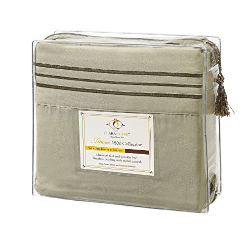 Clara Clark Premier 1800 Series 4pc Bed Sheet Set - Queen, Sage Olive Green, Hypoallergenic, Deep Pocket (Set Mattress Product Premiere)