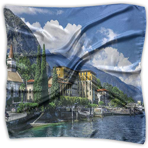 (Bandana Head and Neck Tie Neckerchief,The Panoramic Landscape Of Lake Como Mountains And Clouds Digital Image,Headband )