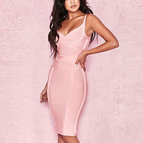 Damen Kleid Beauty Kunstseide Knielänge Rayon Lover Verband Kleider Minikleid Rosa Bodycon 5RwAzAq