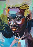 America African Woman Painting Picture Printed on Canvas Modern Abstract Oil Paintings Stretched and Framed Ready to Hang Home Modern Abstract Oil Paintings Portraiture Wall Art Decoration 16x22Inch