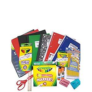 School Supply Basics - Supply Pack for Pre-school, Elementary and Middle School - College Ruled Notebooks,College Ruled Composition Books, Markers, Colored Pencils,Pencils,Crayons,Scissors,Glue Sticks