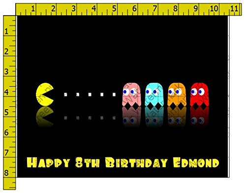 Pacman Personalized Edible Frosting Image 1/4 sheet Cake Topper -