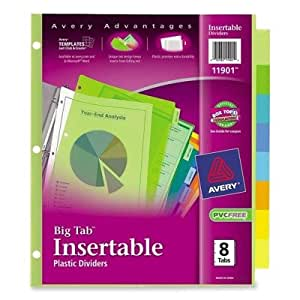 Avery Big Tab Insertable Plastic Dividers, 8-Tabs, 2 Sets (11901)