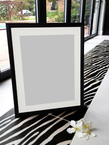 Frames By Post 25mm wide R7 Black Picture Photo Frame with White ...