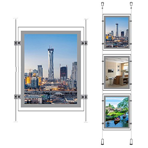 (A4 Portrait Real Estate Window Advertising Display Ceiling Hanging Led Backlit Crystal Frame Sign Holder(3pcs a Column))