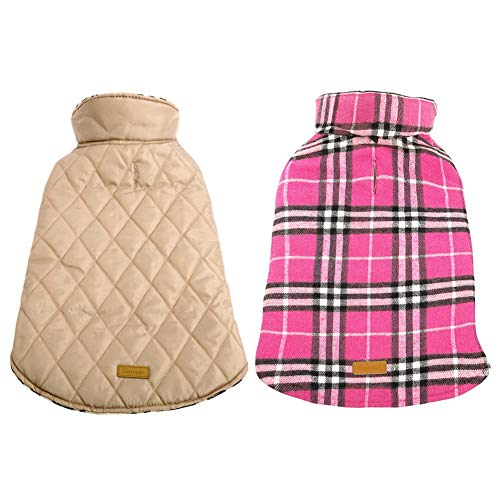 Kuoser Dog Coats Dog Jackets Waterproof Coats for Dogs Windproof Cold Weather Coats Small Medium Large Dog Clothes Reversible British Style Plaid Dog Sweaters Pets Apparel Winter Vest for Dog Pink L - Katie Long Jacket
