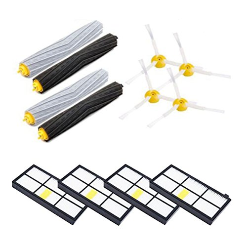Parts for iRobot Roomba 880 870 860 800 900 980 960 805 Series, 4 Hepa Filters, 4 Side Brushes, 2 sets Tangle-Free Debris Extractors(4 Filters +4 Side Brushes+ 2 Extractors)