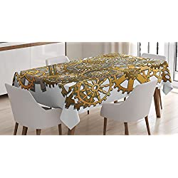 Clock Decor Tablecloth by Ambesonne, The Gears in the Style of Steampunk Mechanical Design Engineering Theme, Dining Room Kitchen Rectangular Table Cover, 60 W X 84 L Inches, Gold and Brown