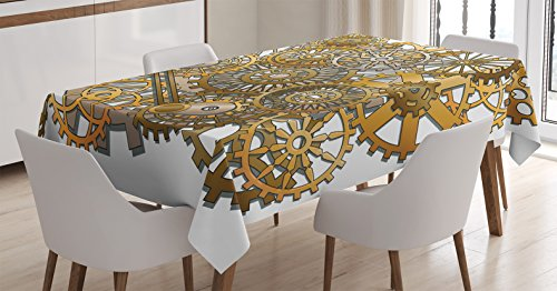Clock Decor Tablecloth by Ambesonne, The Gears in the Style of Steampunk Mechanical Design Engineering Theme, Dining Room Kitchen Rectangular Table Cover, 60 W X 84 L Inches, Gold and (Steampunk Party)