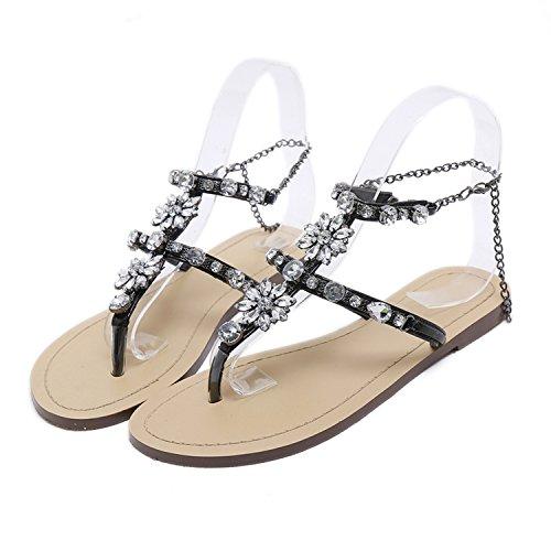 Sky-Pegasus 2018 Women Rhinestones Chains Thong Gladiator Crystal Flat Heels Sandals Five Color Size 46,Black,10,China