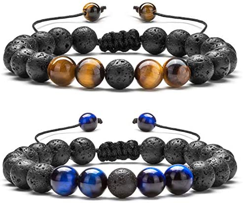 Hamoery Men Women 8mm Lava Rock Aromatherapy Anxiety Essential Oil Diffuser Bracelet Braided Rope Natural Stone Yoga Gifts Beads Bracelet Bangle-21017