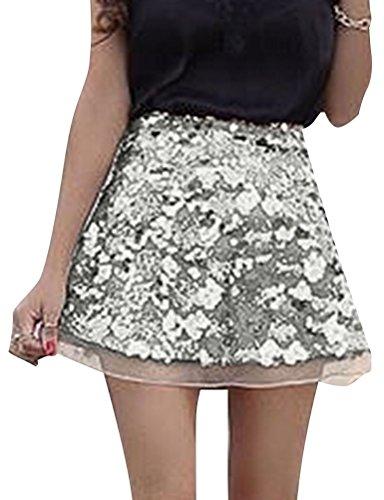 Skirt A-line Zip Back (Ezcosplay Women's Sequin Splice Layered High Waist Zip Back A-Line Mini Skirt)