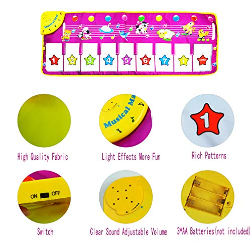 Yolyoo Musical Mat, Piano Keyboard Play Mat Animal Musical Step on Dance Toy Baby Touch Electronic Piano Play Mat for 3-6 Year Old Kids by Yolyoo (Image #1)