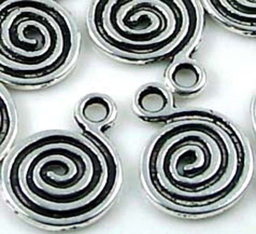 (20 Antique Silver Pewter Spiral Disc Charm Beads, Beading, Jewelry Making, DIY Crafting, Arts & Sewing by Perfect Beeds)