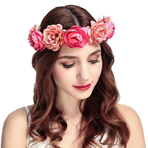 (June Bloomy Women Rose Floral Crown Hair Wreath Leave Flower Headband With Adjustable Ribbon (Rose)