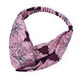 Sayhi Women Flower Printed Elastic Head Wrap Vintage Twisted Cute Hair Accessories Turban Headwraps Fashion Headbands(Pink,Free Size)