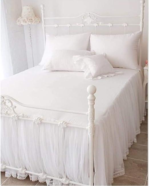 ZXYY Falda de Cama de algodón Encaje Colcha Blanca Colcha Juego de ...