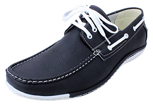 Enimay Men's Free Slip-On Loafer Boat Shoe PU Leather Fine Crafted Lounge Black White 8.5 by Enimay (Image #7)