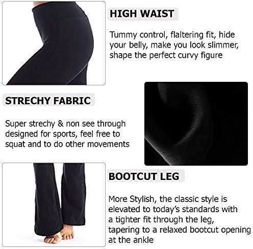 Viosi Yoga Pants for Women Bootcut Fold Over High Waisted Cotton Spandex Lounge Workout Flare Leggings 2