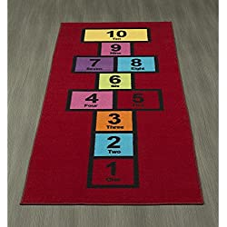 "Ottomanson Children's Garden Collection Red Educational Titled Hopscotch Design 2'7""X6'0"" Children Nursery Kid's Play Runner Rug"
