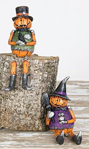Vintage Pumpkin Glitter Jack oLantern Shelf Sitters Halloween Decorations, Set of 2