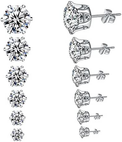 YAN & LEI Hypoallergenic Surgical Stainless Steel Cubic Zirconia Ear Studs Earrings 6 Pairs Set in 3,4,5,6,7,8 mm