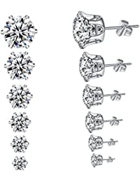Hypoallergenic Surgical Stainless Steel Cubic Zirconia Ear Studs Earrings 6 Pairs Set in 3,4,5,6,7,8 mm