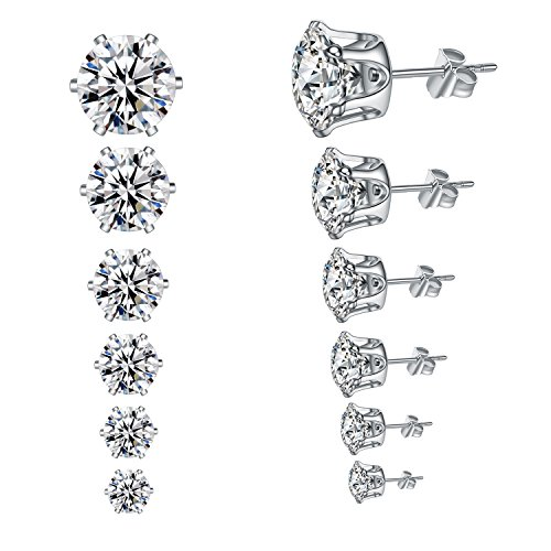 YAN & LEI Hypoallergenic Surgical Stainless Steel Round Clear Cubic Zirconia Ear Stud Earrings for Women 6 Pairs Set in 3,4,5,6,7,8 mm ()