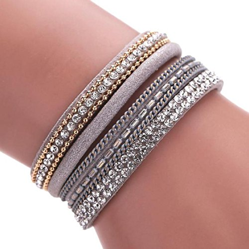 Mchoice Women Bohemian Bracelet Woven Braided Handmade Wrap Cuff Magnetic Clasp (Bead Magnetic Clasp Cable)