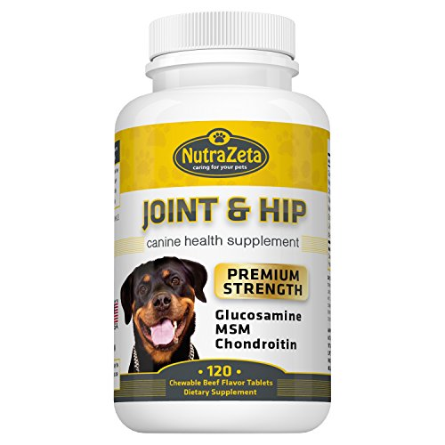 Premium 800mg Glucosamine for Dogs Hip & Joint Supplement - 120 Chewable Tabs with Glucosamine Chondroitin MSM Vitamins - Best Dog Joint Care - Aids Mobility - Made USA - ()