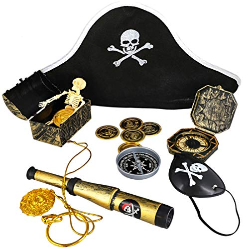 Juvale 100-Count Kids Pirate Favor Toys and Accessories Set, Birthday Supplies for Goody Bags and Decoration -