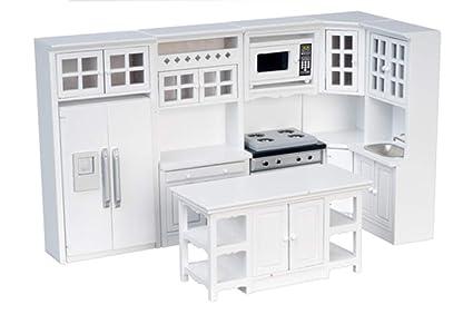 Amazon Com Dollhouse Miniature 1 12 Scale 8 Pc White Kitchen Set