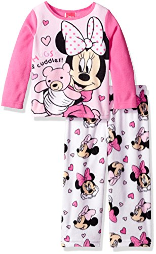 Sleepwear Girls Pj Fleece (Disney Toddler Girls' Minnie Mouse 2-Piece Fleece Pajama Set, Pink, 4T)
