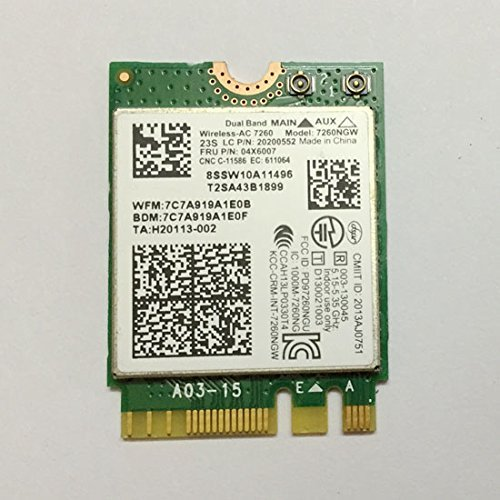 Dual Band Wireless-AC 7260 NGFF M2 Use For Intel AC 7260NGW 802.11ac 2x2 Wi-Fi + Bluetooth 4.0 Compatible with Lenovo Thinkpad T440 T540 X240 W540 L540 L440 Fru: 04X6007 ()