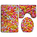 jelly bean cotton candy machine - ErLiu Ss Bathroom Antiskid Pad Colorful Candy Sweet Beans Candy Sugar Beans Peas Yellow Food Pink White Color Delicious Jelly Sweet Beans Dessert Colorful Vacuum Bathroom Mat