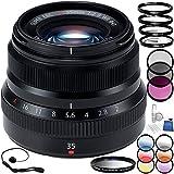 Fujifilm XF 35mm f/2 R WR Lens (Black) Bundle with Accessory Kit (24...