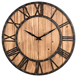 Toright Farm House Metal & Solid Wood Wall Clock Kitchen Wall Clock (Rustic Barn Vintage Bronze, 16-inch)