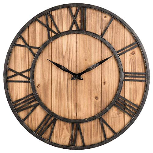 UPTOP Farmhouse Metal & Solid Wood Noiseless Wall Clock Fire Wood, 16-inch
