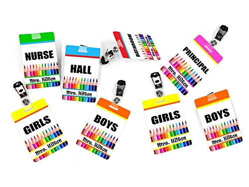 (Customized Teacher Resource 8 Hall Passes, Colorful Pencils Theme)