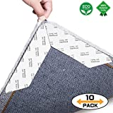 MYFAMIREA Enhanced Edition Rug Gripper 10 pcs Non Slip Carpet Gripper Best Anti Curling Rug Slip Grip with Reusable Flooring Rug Tape for Indoor & Outdoor Carpets,Keep Rug Pad Corner in Place