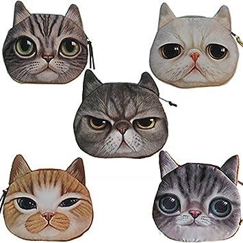 Achun - Bolsa de mano con cremallera para gatos, monedero y monedero: Amazon.es: Hogar