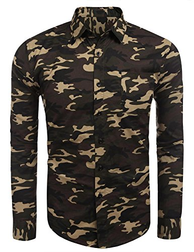 One Chest Pocket (Men Camouflage Shirts, Long Sleeve One Chest Pocket Cotton Casual Button Down Shirt (S, Deep Green))