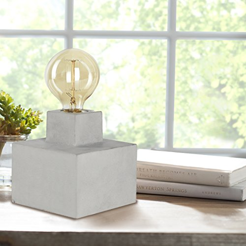 Table Lamp Industrial Design with Vintage Edison Globes Concrete Base, 40 Watts Osram Amber Glass Bulb, Gifts for - Style Of Jolie
