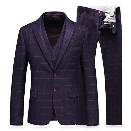 WEEN CHARM Men's 3-Piece Suit Two Button Plaid Slim Fit Blazer Jacket Coat Vest & Pants (Three Button Two Button Suit)