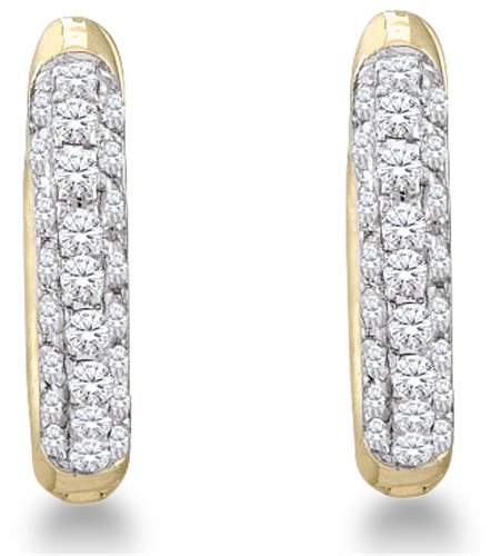 10K Yellow and White Two Tone Gold Micro Pave Set Round Diamond Hoop Earrings - (1/6 cttw)
