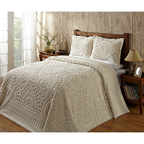 1 Piece White Medallion Queen Bedspread Set, Coastal Flowers Embroidered Floral Themed Bedding, Motif Flower Quilted Pattern Chevron Jacquard Design Elegant Classy Vintage Style, Chenille Cotton by MI